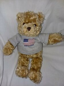 """GUND Plush Brown Bear 2000 May Dept Special Edition Stars and Stripes Shirt 15"""""""
