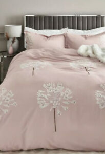 NEXT COTTON SATEEN EMBROIDERED PINK ALLIUM KING SIZE DUVET COVER & PILLOW CASES