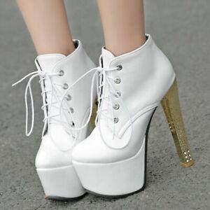 Ladies Clubwear Shoes Platform Stiletto High Heels Pumps Lace Up Ankle Boots