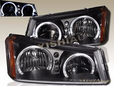 03-06 CHEVY SILVERADO / AVALANCHE CRYSTAL HEADLIGHTS BLACK TWIN HALO LED NEW