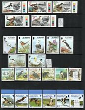 ALDERNEY BIRDS 8 FULL SETS ON 2 SCANS 48 DIFFERENT STAMPS  SUPERB UNMOUNTED MINT