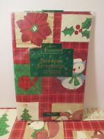 """NIP CHRISTMAS HOLIDAY Red Plaid Kitchen Party Vinyl Tablecloth~Oblong 52"""" x 70"""""""