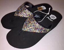 Yellow Box Womens Flip Flops Rhinestone Glitter Wedge Sparkle Kristian Party