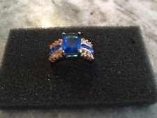 18K Gold Plated Genuine Blue Tourmaline Tanzania Ring Size 7 Fashion Jewelry
