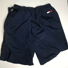 Vtg 90s Tommy Hilfiger Nylon Sweatpants Men's L Navy Blue Flag Logo Athletics