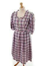 Vintage Original Huber Dirndl Country Dress Purple Check Cotton Uniform 44