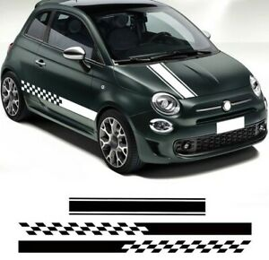 Door Side Skirt Stripes Stickers Hood Bonnet Decal For Fiat 500 Auto Sport Decor