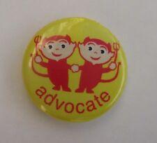 "h Devil's advocate PINBACK BUTTON pin Jane Jenni 1"" flair add to jacket hat"