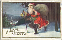 CHRISTMAS Postcard: SANTA With Walking Stick Flowing Cape, Lamp, Church - c1920s