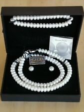 Honora White Rondelle Pearl Necklace, Bracelet And Earrings Set Sterling Silver