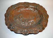 Antique 18th century Baroque Chiselled Copper Plate Prussia Pluto God Horses