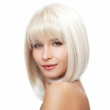 Natural Short Bob White Blonde Bob Wigs with Bangs Synthetic Hair Wig for Women