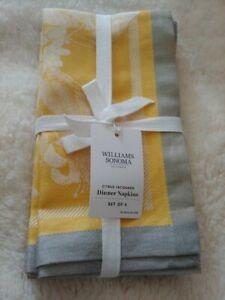 wiliiams sonoma Citrus Jacquard Napkins original $59.95 new 4pc
