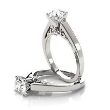 Diamond Solitaire Promise Engagement Ring 14K White Gold Finish 1.00Ct Round-Cut