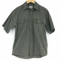 Vintage Carhartt Mens Size Medium Olive Button Down Shirt Short Sleeve Work Wear