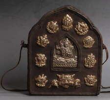 Huge Leather Bronze Manjushri Pendant Necklace!Amulet