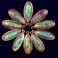 5Pcs Wrapped Rainbow Opal Teardrop Pendant Bead 29x11x6mm CG551