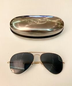 Ray Ban RB3025 Gold Aviator Sunglasses With New POLARIZED Blue Grey Lenses