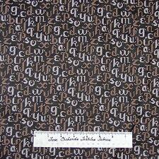Letters Alphabet Fabric - Brown La Petite Mercerie - Lecien Cotton YARD