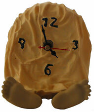 NOVELTY FEET CLOCK PAIR OF FEET OUT OF THE ICING CAKE UNDER CURTAIN POLY RESIN