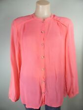CUSTOMMADE coral pink 100% SILK detailed shirt blouse dress top sz 12