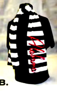 University of Alabama Black and White Striped Scarf with Crimson Sequins
