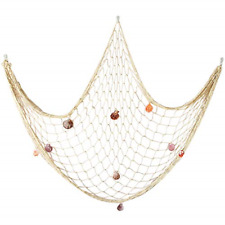 Natural Fishing Net Decor with Shells 79 Inch Beach Theme Decor for Party Home
