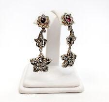 Judith Jack Sterling Silver Earrings w/ CZs & Marcasite & Pink Tourmaline