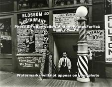 1935 New York City Barber Shop/Restaurant Barber Pole Shave Depression Era Photo