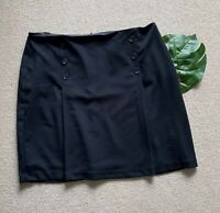 M&S Collection Button Front Mini A-Line Skirt NEW UK22 Long Black