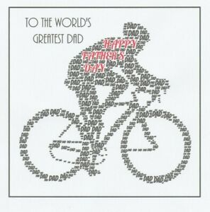 FATHERS DAY WORD ART CARD - CYCLIST - CAN BE PERSONALISED - DAD / BIKER/CYCLING