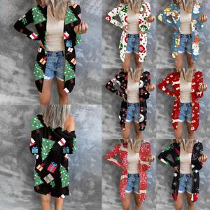 Women Christmas Cardigan Plus Size Tops Shirt Tunic Xmas Print Buttons Tees Soft