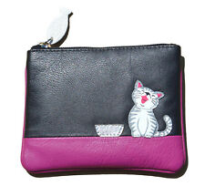 MALA Leather Cat Purse Black & Pink Small Ladies Women's Coin Card Holder Purses