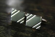 Vtg 925 Sterling Silver Diamond Cut Stiped Rectangle Front Cufflinks 11.3g GUC