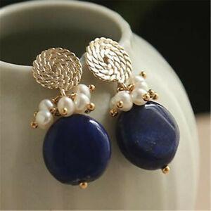 Natural lazurite Pearl Earrings Dangle 18KGP Ms gift Ear stud Jewelry