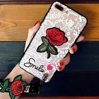 Luxury Chic Embroidery Rose Detachable Strap Case Cover for iPhone X 8 7 6s 6