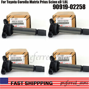 US Stock 4PCS Ignition Coils Set 90919-02252 For Toyota Prius Corolla 1.8L