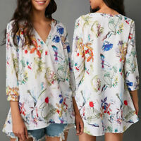 Plus Size Women Chiffon Shirt Casual Floral Long Sleeved Tee Shirts Loose Tops G