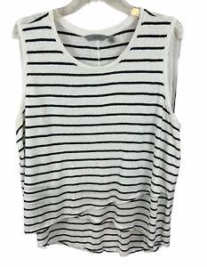 Athleta Women's Criss Cross Sleeveless Linen Top Blue White Striped Linen Sz XL