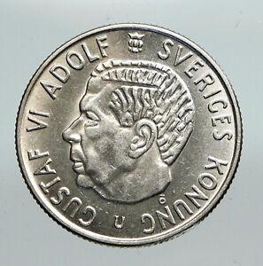 1966 SWEDEN Antique Silver 2 Kronor w KING Gustav VI SWEDISH Vintage Coin i91303