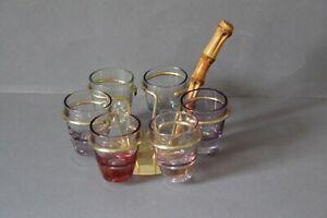 Gläserhalter mit 6 Schnapsgläsern 50er 60er Messing 092111