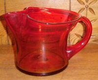 Orange Amberina Blenko 9415 Coal Bucket Pitcher - Handle Has Stress Fracture