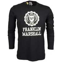 Franklin & Marshall MF352 Round Neck Cracked Crest Logo Black T-Shirt