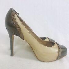Faith Shoes 7 Cream Leather Court High Stiletto Round Toe Patent Frill Platform