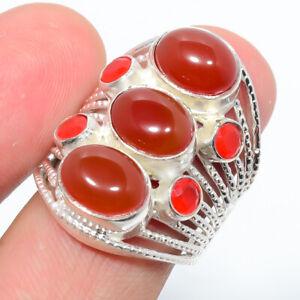 Carnelian Gemstone Silver Handmade Jewelry Ring s.7.5 R1190-2