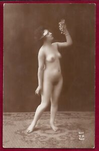 1920's Antque Art Deco Risque Photo~Beautiful Flapper Perfect Body Perky Pinup