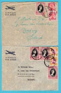 MALAYA 2 air covers 1953 Kuala Trengganu, Kuala Lumpur to Netherlands