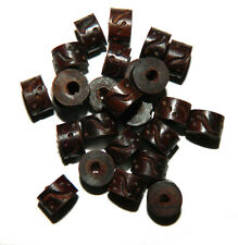 24 Hand Carved Wood Beads 3mm Hole 10x6mm Barrel