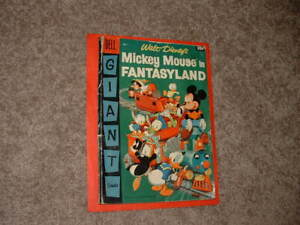 1957 Vintage Disney Dell Giant Mickey Mouse in Fantasyland 1 Decent G+ Fast Ship