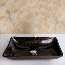 RE Black&Brown Rectangular Bathroom Glass Basin Vessel Single Sink